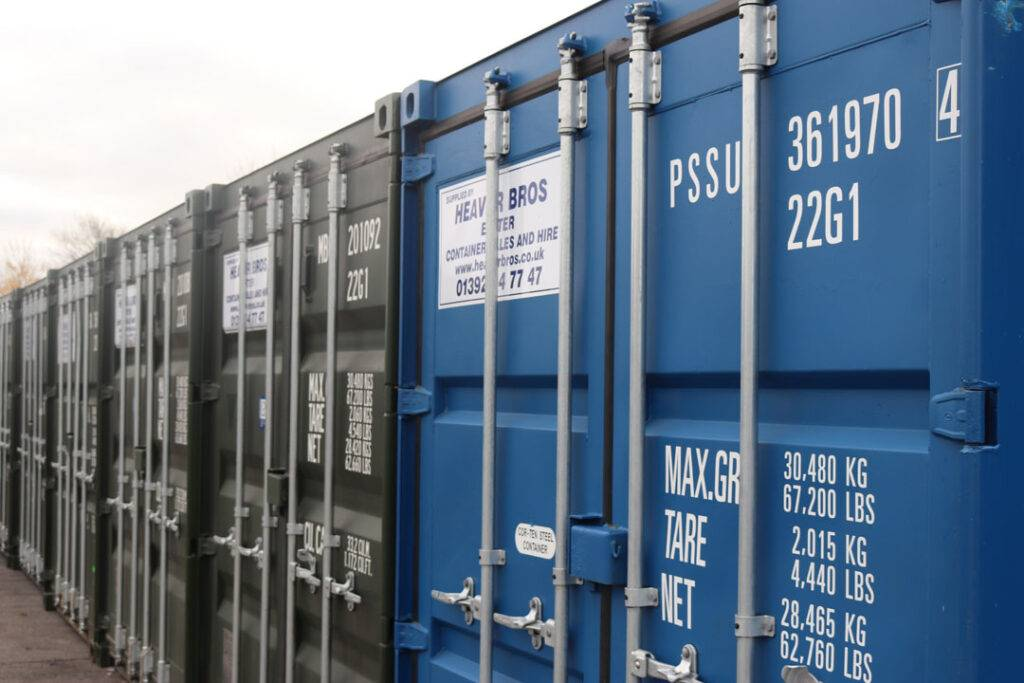 new secure self storage containers at Heaver Brothers yard in Exeter